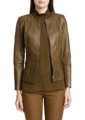 Lafayette 148 New York Courtney Glazed Lambskin Leather Jacket