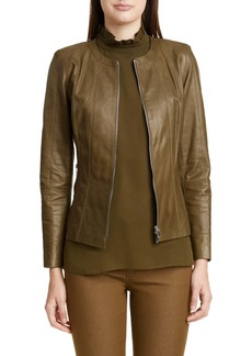 Lafayette 148 New York Courtney Glazed Lambskin Leather Jacket