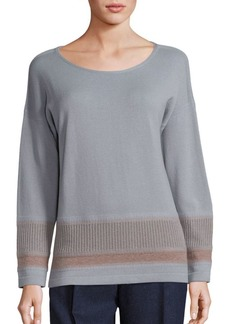 Lafayette 148 Cozy Two-Tone Ribbed Hem Sweater