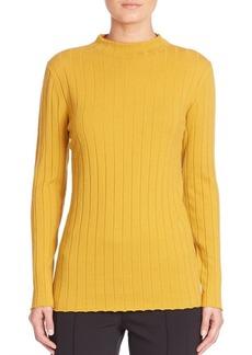 Lafayette 148 New York Cozy Wool Flannel Rib-Knit Turtleneck Sweater