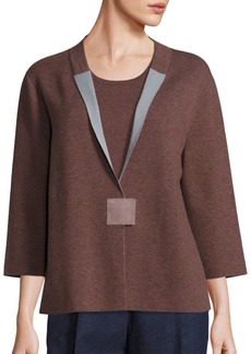Lafayette 148 New York Cozy Wool Flannel Two-Tone Cardigan