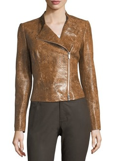 Lafayette 148 New York Cropped Leather Moto Jacket