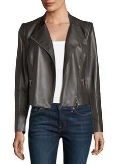 Lafayette 148 New York Cropped Leather Moto Jacket
