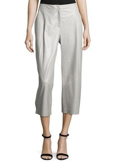 Lafayette 148 New York Cropped Leather Wide-Leg Pants