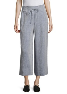 Lafayette 148 New York Cropped Linen Drawstring Pants