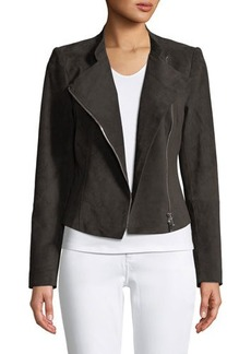 Lafayette 148 New York Cropped Suede Moto Jacket