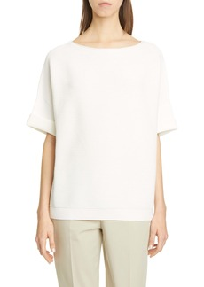 Lafayette 148 New York Cuffed Rib Matte Crepe Sweater