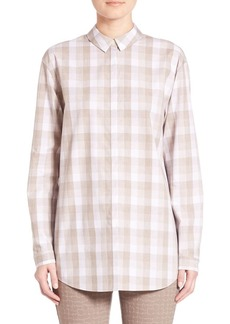 Lafayette 148 New York Cultivated Check Shirting Sabira Blouse