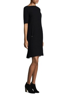 Lafayette 148 New York Cyra Lace-Inset Nouveau Crepe Dress