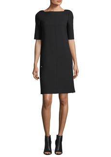 Lafayette 148 New York Cyra Square-Neck Wool Dress w/ Lace Insets