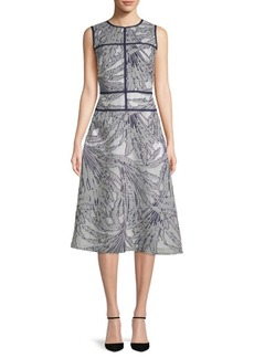 Lafayette 148 Damaris Palm Fill Coupe Dress