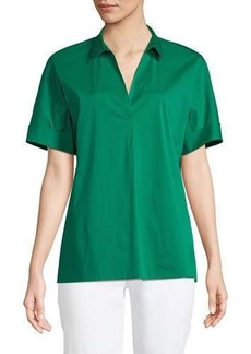 Lafayette 148 New York Damon Short-Sleeve Stretch-Cotton Blouse
