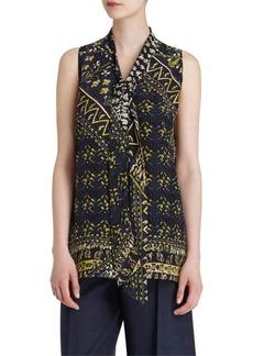 Lafayette 148 Dana Silk Printed Tie-Neck Blouse