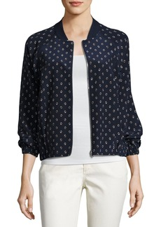Lafayette 148 New York Dancing Dot Reversible Silk Bomber Jacket