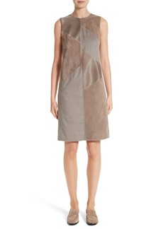 Lafayette 148 New York Daren Loro Piana® Mélange Cashmere Dress with Suede & Genuine Calf Hair Trim