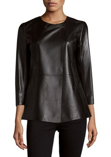 Lafayette 148 Dayle Peplum Leather Top