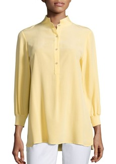 Lafayette 148 New York Declan Silk Three-Quarter Sleeve Blouse