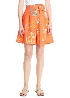 Lafayette 148 New York Degraw Oasis Print Pleat Shorts