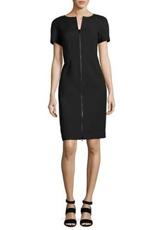 Lafayette 148 New York Deja Zip-Front Bi-Stretch Sheath Dress