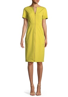Lafayette 148 Deja Zip-Front Fundamental Bi-Stretch Sheath Dress