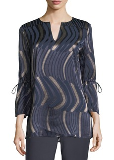 Lafayette 148 New York Dela Graphic-Print Blouse