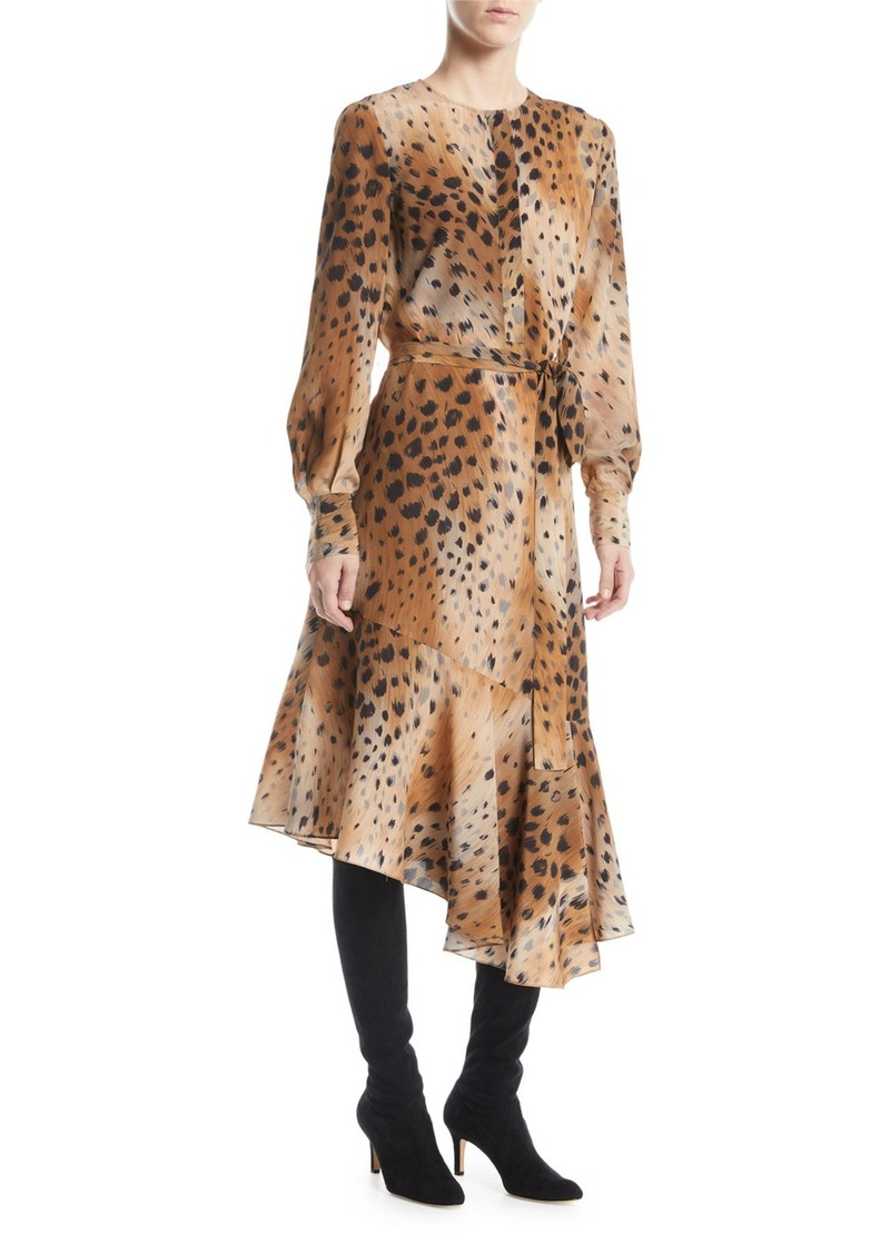Lafayette 148 New York Delancy Agave Leopard-Print Silk Dress
