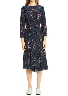Lafayette 148 New York Delancy Floral Print Silk Midi Dress