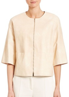 Lafayette 148 New York Delave Python Leather Sabina Jacket
