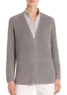 Lafayette 148 New York Delave Ribbed Zip-Front Cardigan
