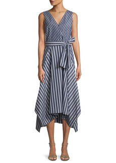 Lafayette 148 Demetria Regal-Striped Sleeveless Dress