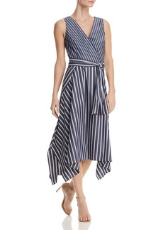 Lafayette 148 New York Demetria Striped Faux-Wrap Midi Dress