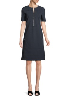Lafayette 148 New York Demi Punto Milano Zip-Up Dress