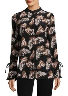Desra Button-Front Silk Blouse