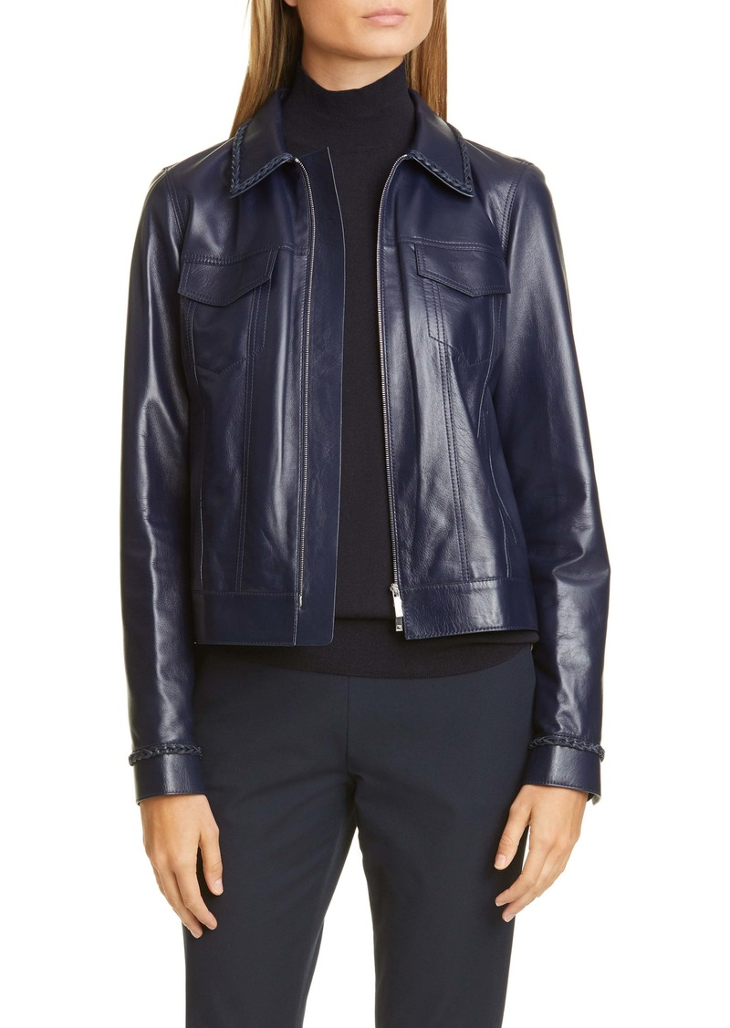 Lafayette 148 New York Destiny Braid Trim Leather Jacket