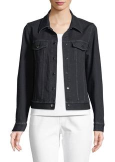 Lafayette 148 Destiny Prestige Denim Snap-Front Jacket