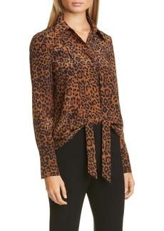Lafayette 148 New York Diana Leopard Tie Neck Silk Blouse