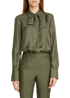 Lafayette 148 New York Diana Tie Neck Print Silk Blouse