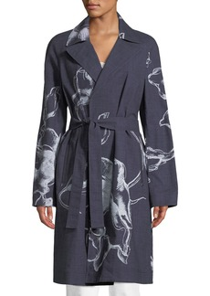 Lafayette 148 New York Dina Desert Bloom Textured Trench Coat