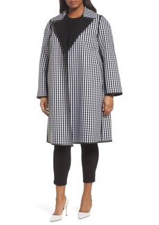 Lafayette 148 New York Dina Reversible Gingham Trench Coat (Plus Size)