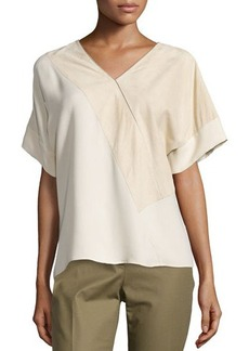 Lafayette 148 New York Dionna Short-Sleeve Leather & Silk Blouse