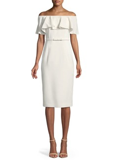 Lafayette 148 New York Diya Finesse Crepe Off-the-Shoulder Dress