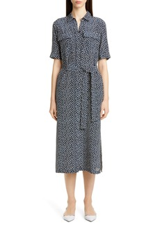 Lafayette 148 New York Doha Short Sleeve Silk Shirtdress