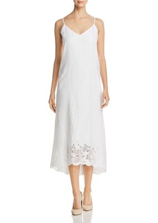 Lafayette 148 New York Dominique Linen Eyelet Midi Dress