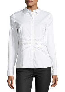 Lafayette 148 New York Donnie Mesh-Inset Blouse