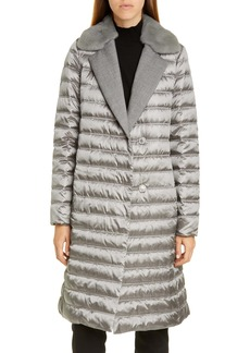 Lafayette 148 New York Dorma Quilted Down Coat with Genuine Mink Fur Trim