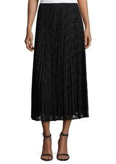 Lafayette 148 New York Dorothy Pleated Devore Midi Skirt