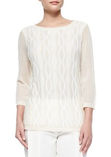 Lafayette 148 New York Double-Layer Cable Intarsia Sweater