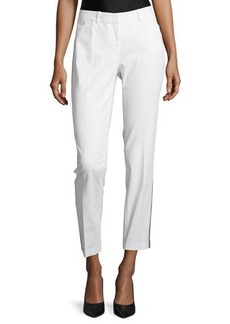 Lafayette 148 New York Downtown Contrast-Trim Ankle Pants