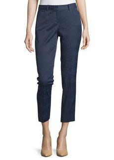 Lafayette 148 New York Downtown Slim-Leg Jacquard Ankle Pants