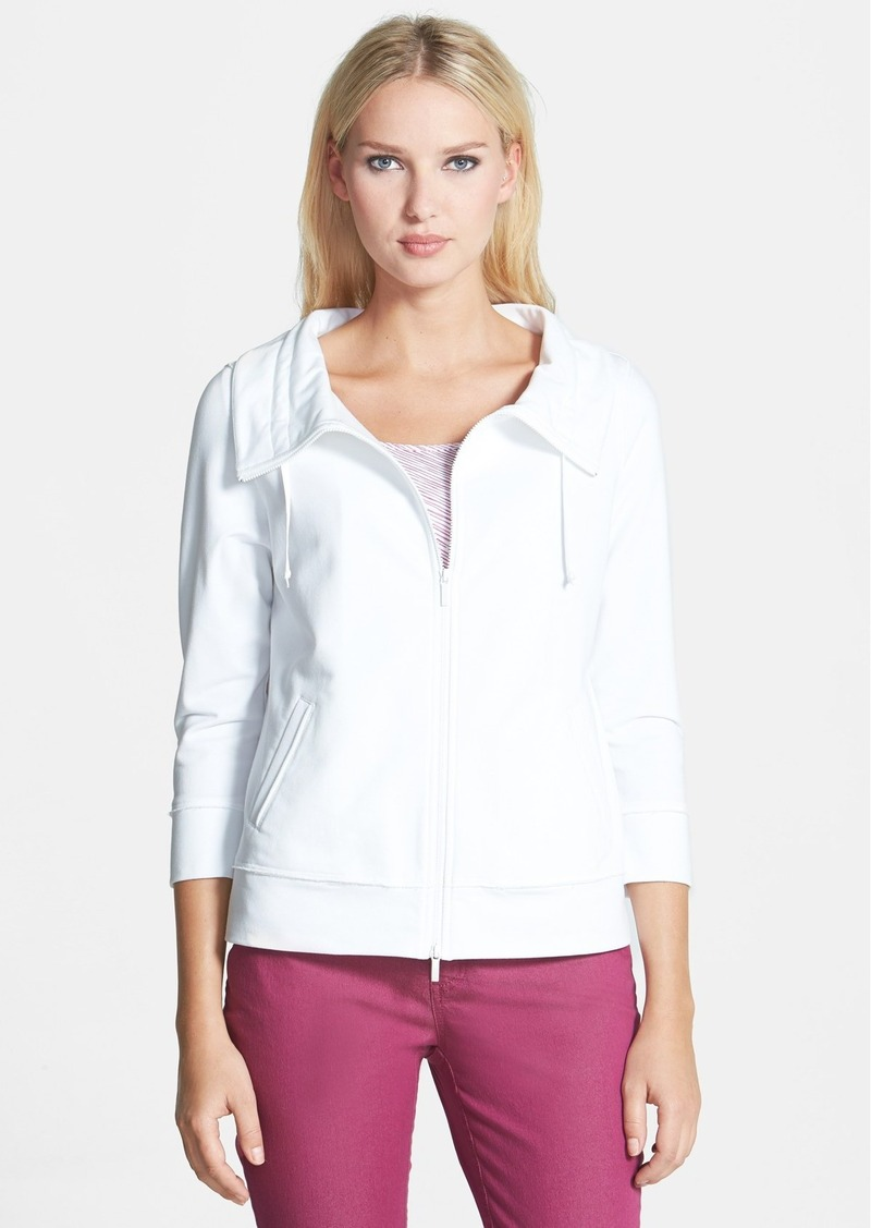 Lafayette 148 New York Drawstring Collar Zip Front Jacket